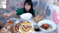 大胃王卡妹吃炒年糕和盖浇饭, 还得再吃一盘火腿和荷包蛋