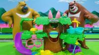 熊出没之熊大熊二分享哈池宠物蛋玩具树屋