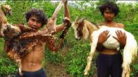 男子在森林中用陷阱捕捉山羊 原始技术烤山羊吃超美味
