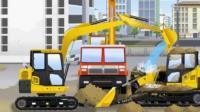 儿童工程车动漫: 水泥搅拌车卡车掉进泥坑里, 聪明的挖掘机用水冲掉压在推土机身上的沙子