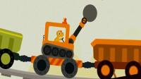 恐龙挖掘机3 超级英雄探险寻宝爪子挖掘机剪刀手挖掘机推土机 翻斗车 陌上千雨解说