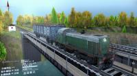 旋转轮胎 开火车运输木头