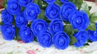 丝网花蓝色妖姬玫瑰花制作视频