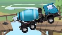 汽车总动员: 混泥土搅拌车经过一条危桥时, 桥断了, 水泥倒进了江里, 挖掘机前来帮忙