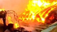 火烧连营!实拍河北唐山百亩大棚着火