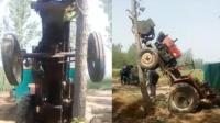 """拖拉机""""发狂""""骑上大树 村民无奈挖树解救"""