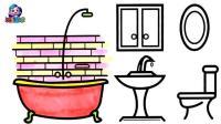 幼儿绘画: 洗手间彩虹墙简笔画艺术