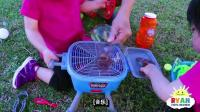 儿童泡沫玩具机和假装玩烧烤