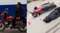 墨镜男花样炫技骑摩托 结果被摔头破血流
