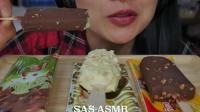 美女直播吃雪糕, 一个人吃的美滋滋, 发出的咀嚼声真好听