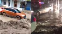 犹如2012! 兰州遭暴雨冰雹突袭, 城中内涝成海, 大水冲走汽车、板房