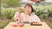 韩国吃货胖妹杨慧户外吃锡纸泡面和炸酱面、紫菜包饭、寿司、香肠
