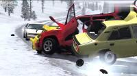 我忍不住一直看下去, BeamNG: 越野车不减速雪地漂移, 接下来会发生什么