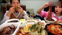 韩国奔驰哥直播吃东西, 吓坏了女友
