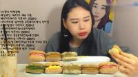 韩国大胃王弗朗西斯卡晚上吃奶油夹心饼干, 还有一大杯奶茶