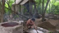 原始技术徒手建房(第二十一集)墙壁内外粉刷完毕