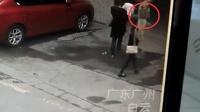 小狗高空坠落砸倒女子 狗跑了女子倒地不起