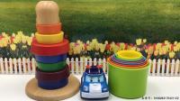 变形警车珀利玩彩虹杯叠叠乐玩具