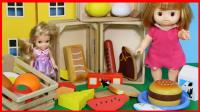 洋娃娃一起玩木制蔬菜水果切切乐玩具购物游戏