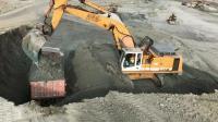 工地上的挖掘机作业, 三斗一车, 效率杠杠的