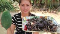 柬埔寨网红女孩下厨, 木瓜炖螃蟹, 太鲜了, 出锅我能干三碗螃蟹汤!
