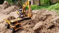 汪汪队立大功毛毛开挖掘机挖坑种树 挖掘机工地挖土装沙 挖土机河边挖沙