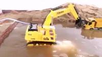 挖掘机水里工作挖沙挖土 挖出来彩色的糖果  挖土机河边挖沙 挖掘机工作