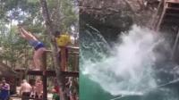 女游客欲吊飞索横渡水池 纵身一跃滑稽落水