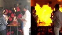 印女孩点燃生日蜡烛引氢气球爆炸 身陷火海