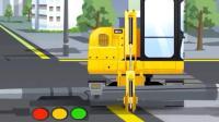 儿童工程车动漫: 挖掘机水泥搅拌车一起把倒在马路中央的灯柱修理好