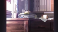 透过门缝看到的杂乱书桌 是店长生活的痕迹