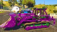 儿童益智汽车动漫: 彩色车库开出挖掘机、推土机、和水泥搅拌车