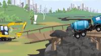 儿童工程车动漫: 蓝色小车把破裂的水管修理好, 挖掘机拯救卡在危桥中央的水泥搅拌车