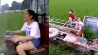 女司机骑三轮带孩子兜风 下一秒翻进农田