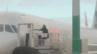 外国男子延误飞机 为强行登机猛拽踢打机舱门被捕