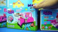 小猪佩奇的工程车挖掘机, 粉红猪小妹儿童汽车玩具