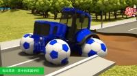 新美国英语启蒙 拖拉机入水坑推土机带着足球车轮救援 家中的美国学校