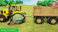 新美国英语启蒙 拖拉机进泥坑只能换蔬菜车轮 家中的美国学校