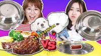 汪星人的狗粮vs真的食物运气大挑战!