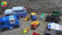 汽车挖掘机玩具车施工遇到金刚, 婴幼儿宝宝玩具游戏视频S48-2