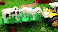 玩具工程车挖掘机建牧场 儿童玩具过家家视频