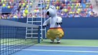 倒霉熊:蜥蜴与企鹅打网球,笨熊捡球塞裤子里,太逗了!