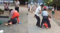 妇女街头与男子动武 一套组合拳将男子打蒙