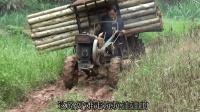 农村大叔拉1.5吨重木头, 凹凸山路车摇摇晃晃, 还能开得这么快