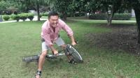 100块改造的反向自行车, 骑行3米都是一个挑战