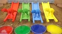 学颜色英语 恐龙和汽车玩玩具 爸爸教育英语歌 【 俊和他的玩具们 】