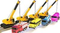 玩具视频超级跑车和直升机 挖掘机 起重机 搅拌车 大脚车狂飙赛