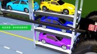 超级跑车运输卡车 它的折叠升降机可以一次运3台汽车 家中的美国学校