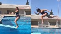 """妹子""""放飞自我""""玩跳水!结果下一秒就糗大了!"""