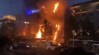 西安南大街建设银行突发大火 现场火势迅猛